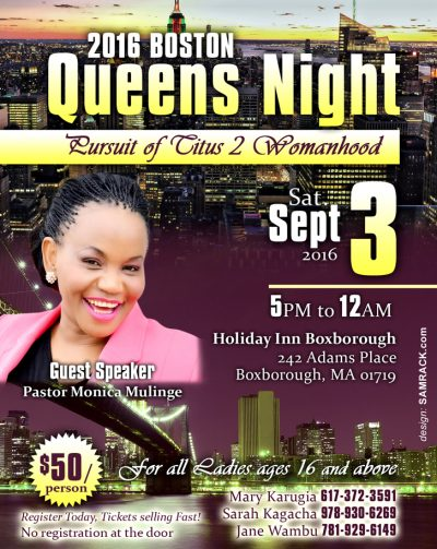 Boston Queens Night Saturday Sept 3rd 2016 5PM @ Holiday Inn Boxborough,MA