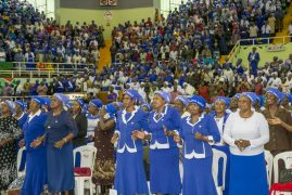 First Lady Margaret Kenyatta joins the P.C.E.A Woman's Guild during the National Day of Prayer for Peace at the Kasarani Indoor Arena.