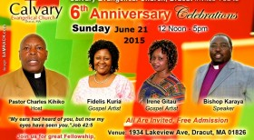 Calvary Evangelical Church Invites You our 6th ANNIVERSARY CELEBRATIONS, JUNE 21st, 2015