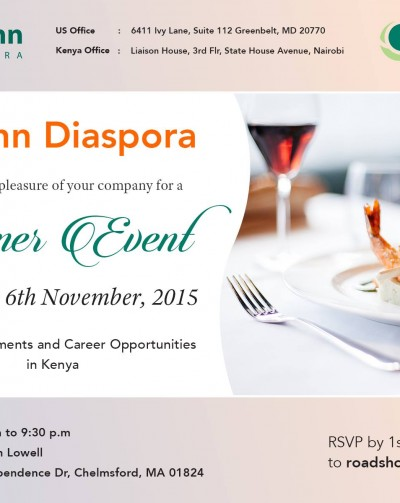 Register for the Cytonn/Boston Dinner November 6th 2015 7:00PM EST to 9:30PM EST