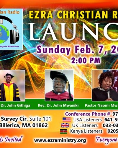 Invitation:Ezra Christian Radio Launch; Sunday Feb.7th 2016 @2:00Pm  1 Survey Circle.North Billerica,MA
