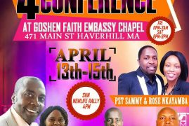 Goshen Faith Embassy Chapel:4 Days of New Life Conference April 13th -15th 2018  Friday 11Pm to 3Am Saturday 6Pm to 8Pm