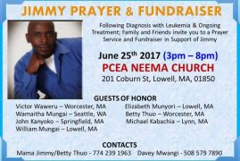 Fundraiser Today:Jimmy Prayer & Fundraiser June 25th 2017 3pm-8pm PCEA NEEMA CHURCH @201 Coburn St,Lowell MA