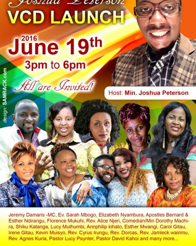 Joshua Peterson VCD Launch June 19th 2016 Time:3Pm to 6Pm @ St John Anglican Church, Sutton MA