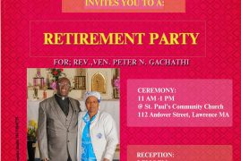 St Paul's Community Church,Lawrence Invites you to a Retirement Party Rev Peter N Gachathi Sat July 28 2018