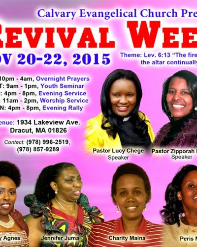 Calvary Evangelical Revival Weekend Flier Nov.20-22,2015 @1934 Lakeview Ave,Dracut,Massachusetts