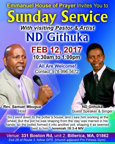E.H.O.P:Emmanuel House of Prayer invites you: Special Sunday service with Pastor N.D Githuka