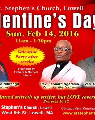 Invitation:St Stephen's Church Lowell Valentine's Day Gala