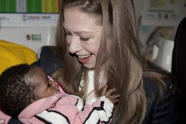Chelsea Clinton visits hospital in Kenya during tour of Africa with father Bill Clinton