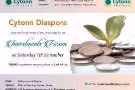 Cytonn/Boston Diaspora Investment Forum Sat 7th 2015 2Pm to 5Pm @ Well of Worship Center,Dracut,MA