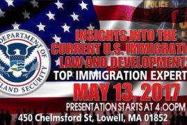 Immigration Information Session & Mother's Day Charity Dinner: Sat, May 13th in Lowell, MA