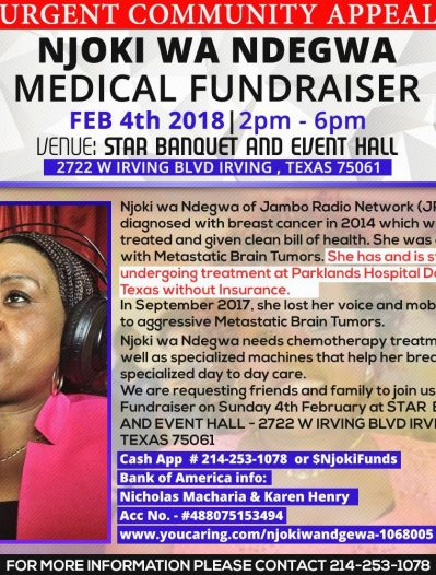 Urgent Community Appeal:NJOKI WA NDEGWA FUNDRAISER FEB4th 2018  2pm – 6pm IRVING,TEXAS