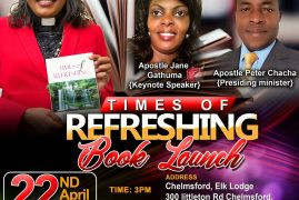 Times of Refreshing Book Launch Sunday April 22nd 2018 @3Pm @ Chelmsford,Elks Lodge 300 Littleton Rd Chelmsford,MA