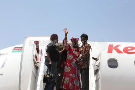 (Pictures) Immaculately Dressed Mama Sarah Obama Boards KQ In Kisumu To Meet Grandson In Nairobi