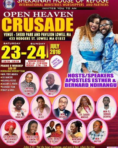 Invitation: Open Heaven Crusade: Shekainah House of Refuge International Ministries Worshipers and Partners Sat 23-24 July 2016