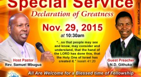 """'Invitation:Special Sunday Service with N.D Githuka """"Declaration of Greatness"""" @Well of Worship Center,Dracut,MA – Sun. Nov. 29, 2015 Time:10:30Am' from the web at 'http://www.samrack.com/wp-content/uploads/bfi_thumb/special_serviceWOW-30dkvuhjvxidj98k9vkiyy.jpg'"""