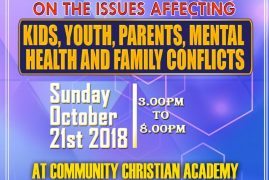 Discussion on the Issues affecting KIDS,Youth,Parents,Mental Health & Family Conflicts. Sunday  October 21 2018 CCF Lowell@3PM
